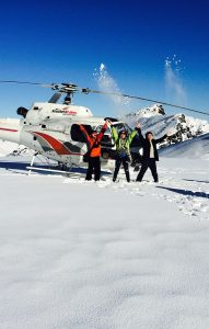 Helicopter landed on glacier